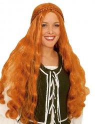 Perruque longue tressée rousse médiévale femme