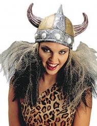 Casque argent Viking femme avec cheveux