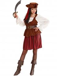 Déguisement pirate rayé noir et rouge femme