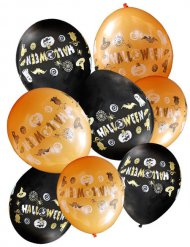 8 Ballons noirs et orange Halloween