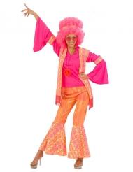Déguisement hippie rose orange femme