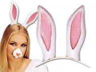 Serre-tête oreilles de lapin blanc adulte
