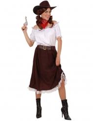 Déguisement cowgirl blanc et marron femme