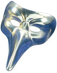 Masque vénitien long nez argenté adulte