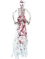 Décoration squelette boucher ensanglanté 182 cm