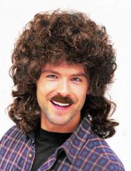 Perruque et moustache châtain homme