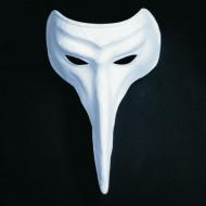 Masque vénitien blanc nez crochu adulte