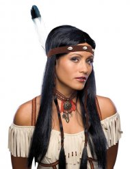 Perruque longue noire indienne à bandeau femme
