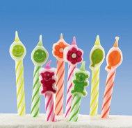 8 bougies à motifs multicolores 6 cm