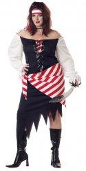 Déguisement pirate grande rouge et noir taille femme