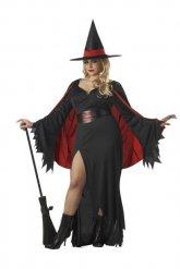 Déguisement sorcière rouge noir femme grande taille