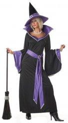 Déguisement sorcière élégante noir violet femme