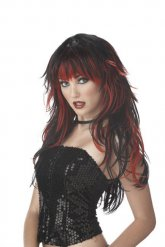Perruque gothique noir-rouge