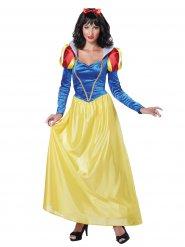 Déguisement princesse de conte de fées bleu et jaune femme