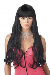 Perruque à cheveux longs et noirs adulte