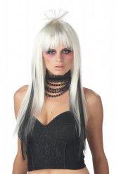 Perruque longue blanche et noir femme