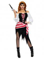 Déguisement pirate rayé blanc et rouge femme