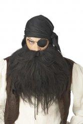 Barbe et moustache pirate noir