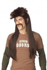 Perruque punk  et moustache  marron pour homme
