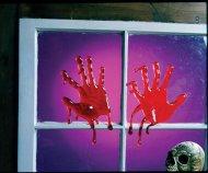 2 mains sanglantes pour fenêtre Halloween