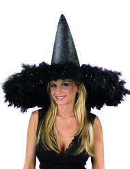 Chapeau de sorcière géant noir à plumes
