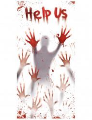 Décoration sanglante Help us pour porte Halloween