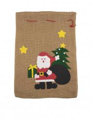 Sac en jute Père Noël 50 x 35cm