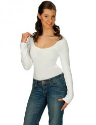 Body blanc manches longues adulte