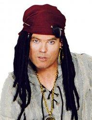 Perruque de pirate avec bandana et décorations
