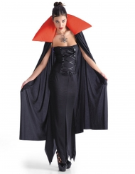 Cape vampire femme noir et rouge Halloween
