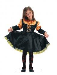 Déguisement sorcière orange et noir fille