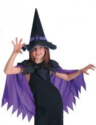 Cape violette avec chapeau de sorcière noir fille