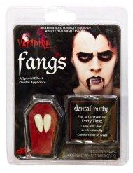 Dents de vampire blanche adulte avec colle