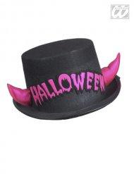 Chapeau haut de forme noir avec cornes roses Halloween