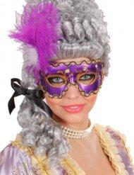 Masque de bal masqué avec plumes femme violet-or