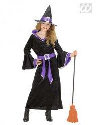 Déguisement de sorcière fille noir et violet Halloween
