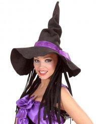 Chapeau de sorcière Halloween femme noir et violet