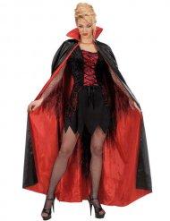 Cape satinée rouge et noire adulte Halloween
