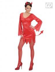 Déguisement diablesse rouge à sequins femme Halloween