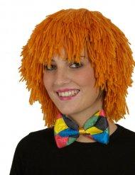 Perruque clown en laine orange adulte