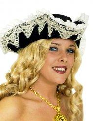 Chapeau pirate avec volant et dentelle femme