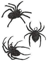 9 décorations araignées pailletées noir