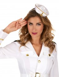 Serre-tête mini chapeau marin blanc femme