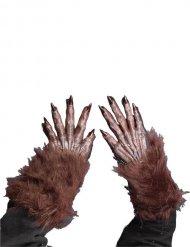Gants de loup-garou marron Halloween