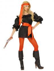 Déguisement tunique de pirate noire femme