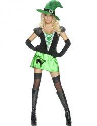 Déguisement sorcière sexy vert noir femme