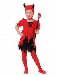 Déguisement petite diablesse noire et rouge fille