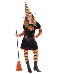 Déguisement enfant sorcière noir-orange