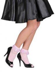 Socquettes roses avec dentelle femme