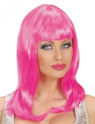 Perruque longue frange rose femme